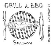 bbq and grill logo. salmon on a ... | Shutterstock .eps vector #1043960434
