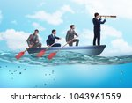 team of businessmen in teamwork ... | Shutterstock . vector #1043961559