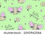 hand drawn cute big butterflies ... | Shutterstock .eps vector #1043962066