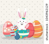 happy easter day with white...   Shutterstock .eps vector #1043962129