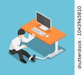 flat 3d isometric businessman... | Shutterstock .eps vector #1043965810