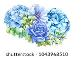 set of blue flowers  rose  lily ... | Shutterstock . vector #1043968510