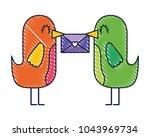 sweet bird with envelope...   Shutterstock .eps vector #1043969734
