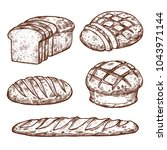 bread sketch icons for bakery... | Shutterstock .eps vector #1043971144
