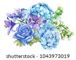 bouquet of blue flowers  rose ...   Shutterstock . vector #1043973019