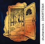 open door into a nature. hand...   Shutterstock .eps vector #1043973364