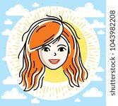 beautiful women face  human... | Shutterstock .eps vector #1043982208