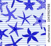 sea stars seamless pattern.... | Shutterstock .eps vector #1043982988