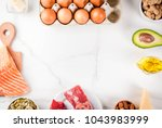 ketogenic low carbs diet... | Shutterstock . vector #1043983999