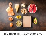 ketogenic low carbs diet... | Shutterstock . vector #1043984140