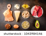 ketogenic low carbs diet... | Shutterstock . vector #1043984146