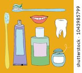 vector set on a dental theme.... | Shutterstock .eps vector #1043985799