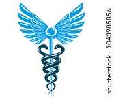 caduceus symbol made using bird ... | Shutterstock .eps vector #1043985856