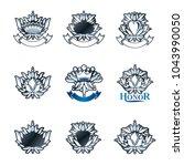 royal symbols  flowers  floral... | Shutterstock .eps vector #1043990050