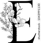 vector hand drawn floral e... | Shutterstock .eps vector #1043991130