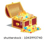 treasures in wooden box  poster ... | Shutterstock .eps vector #1043993740
