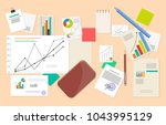 lot of statistic and analytics... | Shutterstock .eps vector #1043995129