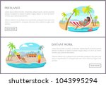 freelance and distant work... | Shutterstock .eps vector #1043995294