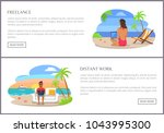freelance and distant work page ... | Shutterstock .eps vector #1043995300