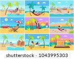 freelancers work on laptops at... | Shutterstock .eps vector #1043995303