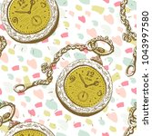 seamless pattern with golden... | Shutterstock .eps vector #1043997580