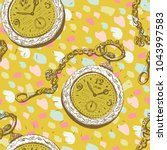 seamless pattern with golden... | Shutterstock .eps vector #1043997583
