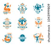 vector weightlifting theme... | Shutterstock .eps vector #1043999809