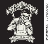 hipster skull barista holding a ... | Shutterstock .eps vector #1044000400