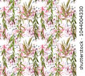 willow branches pattern in a... | Shutterstock . vector #1044004330