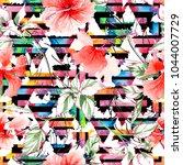 wildflower rose flower pattern... | Shutterstock . vector #1044007729