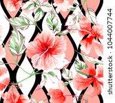 wildflower rose flower pattern... | Shutterstock . vector #1044007744
