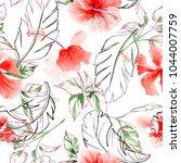 wildflower rose flower pattern...   Shutterstock . vector #1044007759