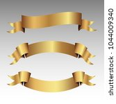 set of golden ribbons vector.   Shutterstock .eps vector #1044009340