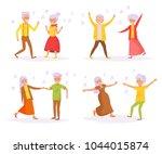 old people dancing. vector....   Shutterstock .eps vector #1044015874