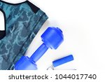 sports bra and sports equipment ... | Shutterstock . vector #1044017740