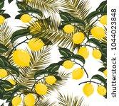 seamless pattern with lemons... | Shutterstock .eps vector #1044023848