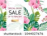 exotic pink orchid phalaenopsis ... | Shutterstock .eps vector #1044027676