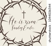 vector easter banner with... | Shutterstock .eps vector #1044036544