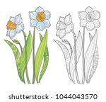 hand drawn spring flowers page... | Shutterstock .eps vector #1044043570