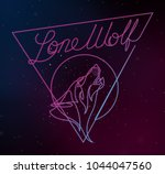 lone wolf continuous line vector | Shutterstock .eps vector #1044047560