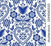 scandinavian seamless folk art... | Shutterstock .eps vector #1044060310