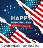 happy memorial day with flag | Shutterstock .eps vector #1044067558