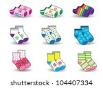 collection of socks for baby | Shutterstock .eps vector #104407334