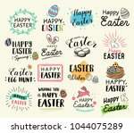 happy easter hand drawn tags ... | Shutterstock .eps vector #1044075289
