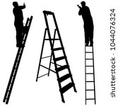 silhouette worker climbing the... | Shutterstock .eps vector #1044076324