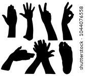 black set silhouette of hands... | Shutterstock .eps vector #1044076558