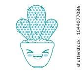 houseplant in pot happy kawaii... | Shutterstock .eps vector #1044077086