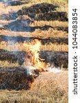 fire burning on the field ... | Shutterstock . vector #1044083854