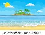 summer beach with a sun  palm... | Shutterstock .eps vector #1044085813