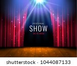 theater wooden stage with red... | Shutterstock .eps vector #1044087133